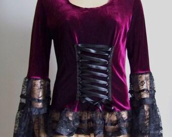 Holidays, Blouse, Dark Burgundy Velvet and Black Lace, Victorian, Goth, Gothic, Vampire, Steampunk Noir, IDEAL for HER