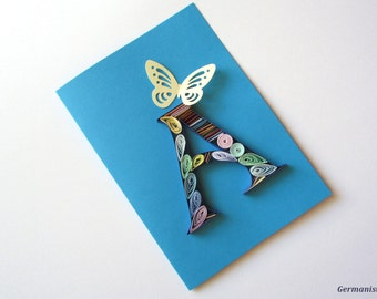 A Initial Letter Card, Personalized Greeting Card, A Letter Quilling Card, A monogram card, Alphabet card, Blue letter