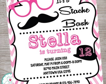 Stache Bash mustache hipster lips birthday party invitation printable digital file