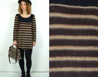 Women's brown striped furry blouse