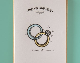 Forever and ever and always Letterpress Wedding Card