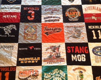 Tshirt Quilt Patchwork style Memory Quilt