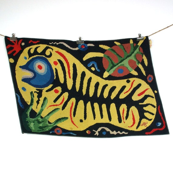 Antique Needlepoint Rug Or Tapestry With Fish & Turtle