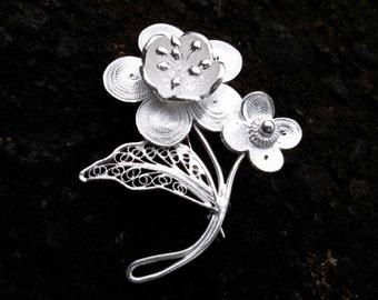 "Sterling Silver ""Lima flower"" Brooch"