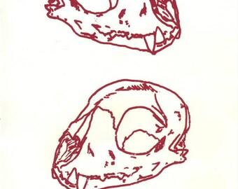 Cat Skull Screenprint
