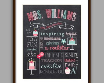 "Teacher Gift - ""The Best Teacher"" Chalkboard Style Print"