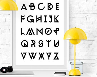 Abc Print, Alphabet Print, Alphabet Printable, Abc Art, Scandinavian Print, Minimalist Print, Minimalist Poster, Abc Poster, Alphabet Poster