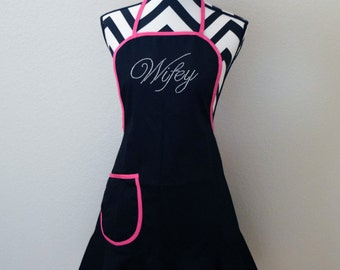 Wifey Apron .Wife Apron . Bride To Be Gift .  Wife To Be Gift . Rhinestone Apron . Black Apron