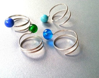Sterling Silver 925 - Double Turn Adjustable Ring - Effetre Murano Glass - Blue Bead