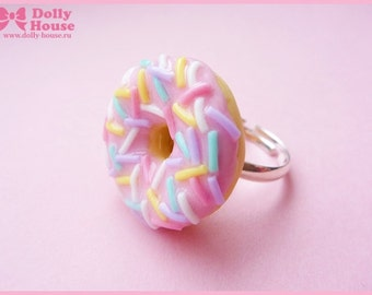 Sweet kawaii pink frosting Donut Ring by Dolly House