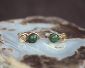 Copper Green Jasper Gold Filled Post Earrings