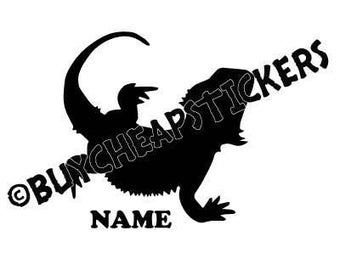 Bearded Dragon Silhouette with Name Decal/Sticker-  4X4