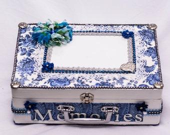 Memory Box, Wedding Box, Keepsake Anniversary Box, Blue Wedding Keepsake Box, Card Box, Accessory Box, Custom Wood Box