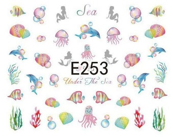 E253 Sea Series Nail Art Sticker Nail Art Sticker Sheet DIY Nail Art