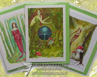 Goddess Card Pack/Glitter Fairy greetings card/Goddess/Fantasy/Pagan/Paganism/Norse Goddesses/St Brighid/Freya Norse Myths/Toadstool