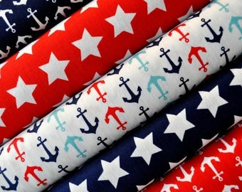 Red, White and Navy Blue Star and Anchor Fabric Bundle - Riley Blake - 100% cotton - 4th of July, Patriotic, Nautical & Anchors - 5 prints
