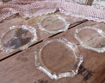 Vintage Glass Coasters Bamboo Pattern Set of Four Country Kitchen Cottage