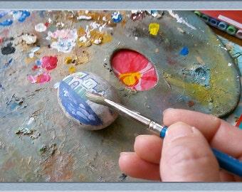 3X hand painted sea stones Greek themes
