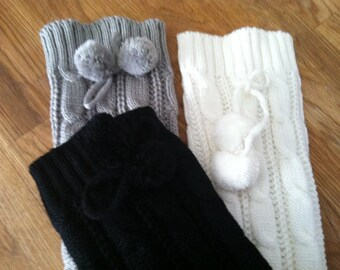 Sweater knit leg warmers with pom poms