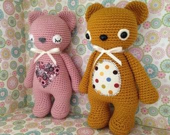 Crochet Amigurumi Teddy Bear Customizable Baby safe Stuffed toy Gift -pattern by lilleliis
