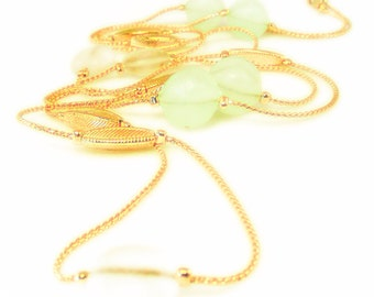 Light Blue and Clear Ice Beaded Gold Tone Necklace