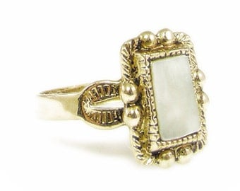 Mother of Pearl Ring Gold Washed Ring - Size 6