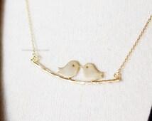 love bird necklace, bird branch necklace, kissing bird necklace, dainty branch bird necklace, bridesmaid, wedding gifts, gift ideas