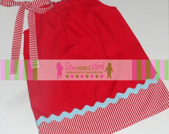 Dr Seuss Inspired Red with White Stripes & Blue Accent Pillowcase Dress Infant 3 4 5 6 7 8