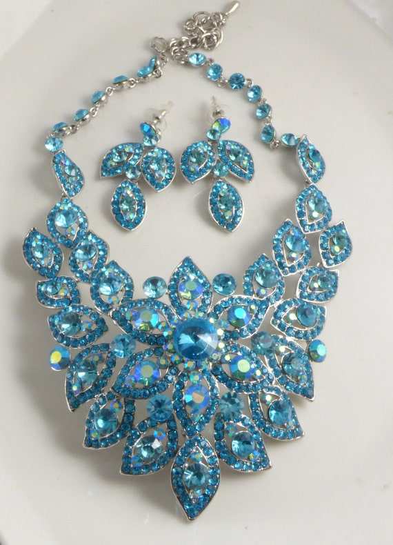 Blue Rhinestone Bold Statement Necklace And Earring Set