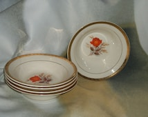 5 Vintage Triumph American Limoges Vermillion Rose Cereal Bowls 22K Gold Trim