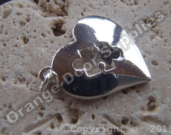 Autism Awareness Heart Puzzle Piece Pendant 20mmx20mm- 10 Pcs (ASD104)