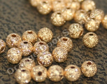 Gold Stardust Beads 4mm - 100 pcs (BDS103)