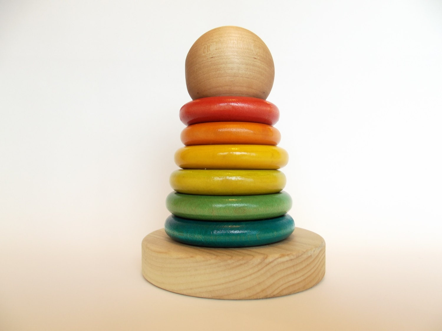 Stacking Rings Toy : Wooden stacking rainbow rings organic baby teething toy six
