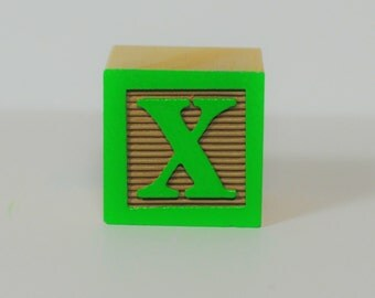 Personalized Letters (Green on Tan Color Sample) Wooden Alphabet Blocks, Alphabet Blocks, Alphabet Letters, Wood Blocks, Wood Letters
