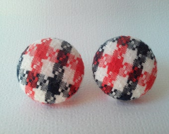 White red blue fabric button earrings  - plaid red blue white button earrings - BUY 3 get 1 FREE