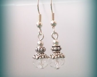 crystal clear earrings handmade with silver