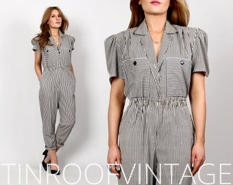 vintage BLACK + WHITE Striped JUMPSUIT s puff sleeve romper cropped short sleeve pants 80s
