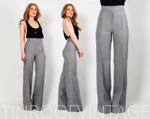 vintage 70s HIGH WAISTED Bell Bottoms Pants S xs trousers grey
