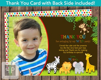 Jungle Photo Birthday Thank You Card, Printable Jungle Animals Photo Thank You Card, Printable Jungle Boy Birthday Thank You Card
