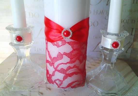 red lace wedding ceremony unity candle set brooch crystal On order of wedding ceremony with unity candle