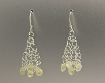 Knit Fine Silver with Citrine Earrings