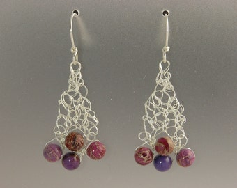 Knit Fine Silver with Dyed Impression Jasper Earrings