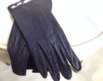Ladies Blue Leather Driving Gloves - Size 6 1/2