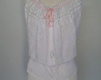 Antique Victorian camisole / custom made / white cotton / small