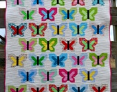 Quilt for sale, Butterfly, bright modern patchwork, girl, baby, toddler, child,