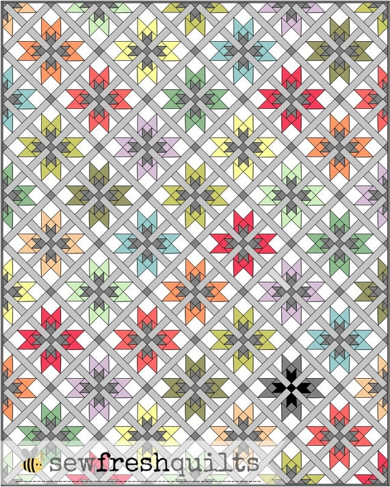 On Point Quilt Pattern, PDF,  instant download, modern patchwork, KONA Solids, blue, grey, green, pink, orange, black, yellow, white.