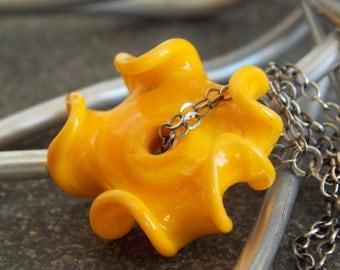 Yellow Artisan Lampwork Ruffle Necklace // Rustic Sunflower Necklace // Minimalist Necklace