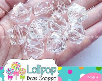 CLEAR CUBE Beads 20mm Beads Chunky Beads Faceted Beads White Square Beads Acrylic Beads 10-ct Lucite Bubblegum Beads Bubble Gum Beads