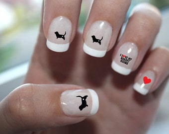 Basset Hound Love Nail Art