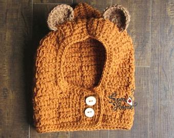 Handmade Ewok Inspired Hood, Costume, Sci-Fi, Character, Crochet, Toddler, Child, Adult